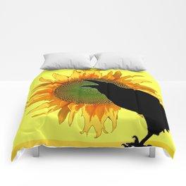 BLACK CROW-RAVEN YELLOW SUNFLOWER FLORAL ART Comforters