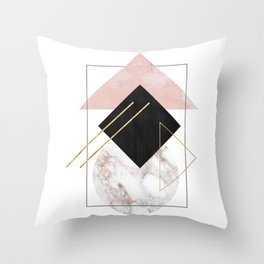 Rose Marble Triangle Art | Geometry Wall Decor | Polygonal Modern Minimalist Abstract Shapes Throw Pillow