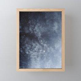 Blue veiled moon Framed Mini Art Print