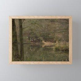 birds in flight over the pond Framed Mini Art Print