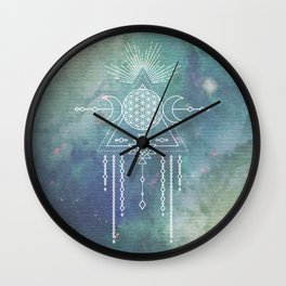 Mandala Flower of Life in Turquoise Stars Wall Clock