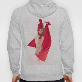 1545s-MM Red Mask and Drape High Key Art Nude on White Hoody