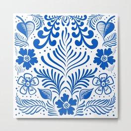 Mexican Folk Floral Ornaments Metal Print