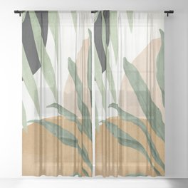 Abstract Art Tropical Leaves 4 Sheer Curtain