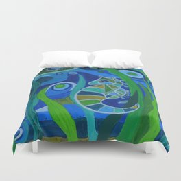Seahorse Sea tote Duvet Cover
