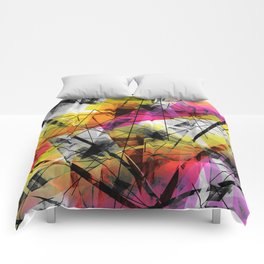 Discourse on Damage - Futuristic Geometric Abstract Art Comforters