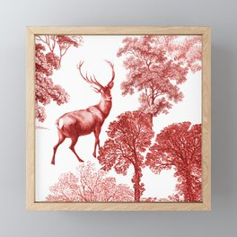 Classial Red Toile Forest Fabric Pattern Framed Mini Art Print