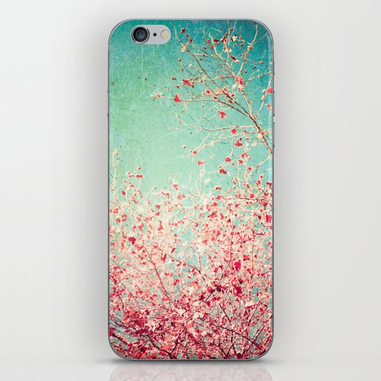 Blue Autumn, Pink leafs on blue, turquoise, green, aqua sky iPhone & iPod Skin