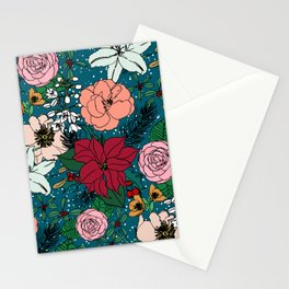 Cute colorful winter floral and white dots design Stationery Cards