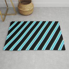 Vibrant Dark Slate Gray, Light Cyan, Dark Turquoise, Sky Blue, and Black Colored Lines Pattern Rug