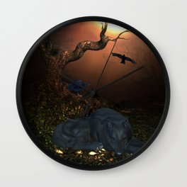 Awesome sleeping wolf in the night Wall Clock
