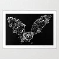 bat Art Prints featuring Bat by Cortney Palmer Art