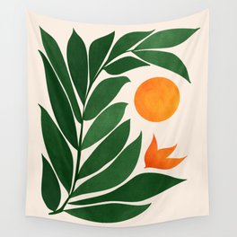 Tropical Forest Sunset / Mid Century Abstract Shapes Wall Tapestry