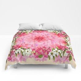 PINK DAHLIA FLOWER GARDEN  YELLOW FLORAL Comforters