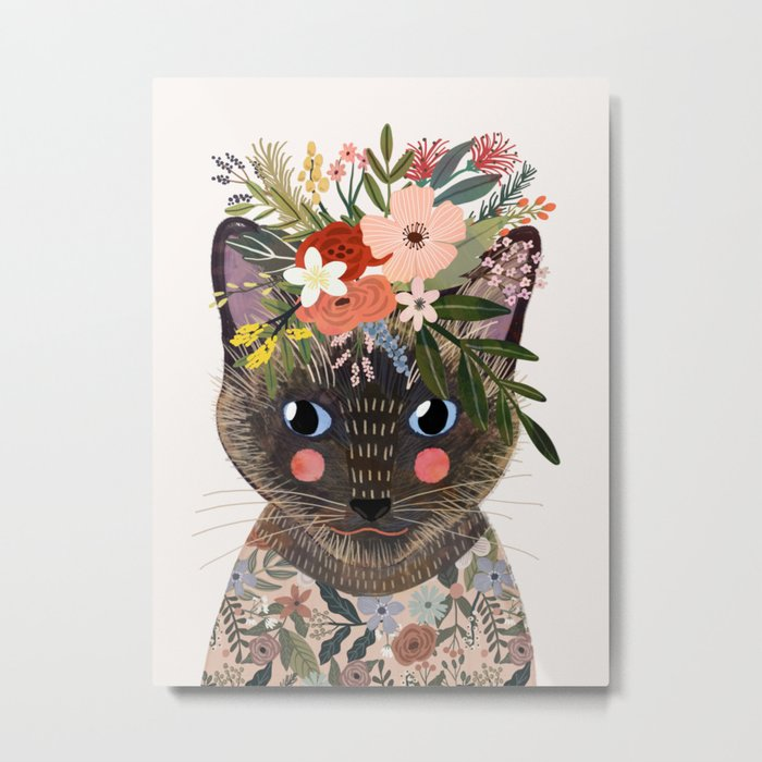 Siamese Cat with Flowers Metal Print