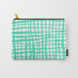 Watercolor doodle gingham - aqua Carry-All Pouch