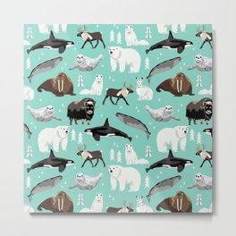 Arctic animals kids pattern gifts boys and girls nursery decor Metal Print