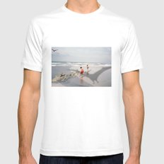 THE BEACH-Suburban Monster Series White Mens Fitted Tee MEDIUM
