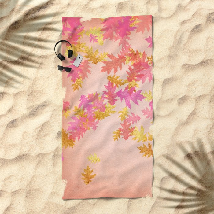 Autumn-world 1 - gold glitter leaves on pink background Beach Towel