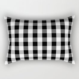 Large Black White Gingham Checked Square Pattern Rectangular Pillow