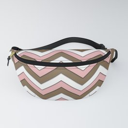 Pink Brown and White Chevrons Fanny Pack