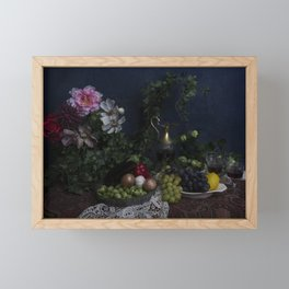 Classic  still life with flowers, fruit, vegetables and wine Framed Mini Art Print