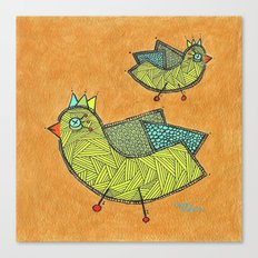 Birds on Gold Canvas Print