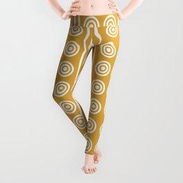 Geometric Golden Yellow & White Vertical Stripes & Circles Leggings