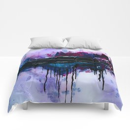 Dawn, pink and fushia black and blue acrylic abstract artwork Comforters