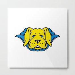 Super Yellow Lab Dog Wearing Blue Cape Metal Print