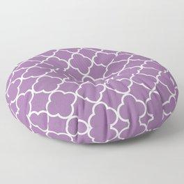 Purple Quatrefoil, Latticework, Moroccan Trellis Floor Pillow