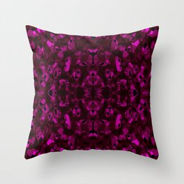 Brilliant ornament of pink spots and velvet blots on black. Throw Pillow