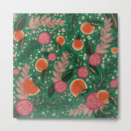 green orange pomegranate art print Metal Print