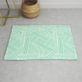 Sketchy Abstract (White & Mint Pattern) Rug