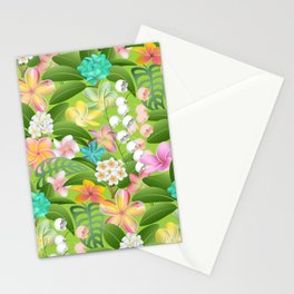 Tropical Floral Plumeria Paradise Stationery Cards