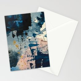 Pleiades: a minimal, abstract mixed media piece by Alyssa Hamilton Art in Pink, Gold, and Blue Stationery Cards