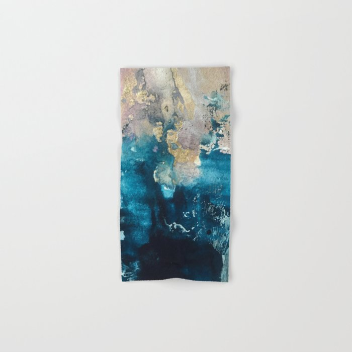 Timeless: A gorgeous, abstract mixed media piece in blue, pink, and gold by Alyssa Hamilton Art Hand & Bath Towel