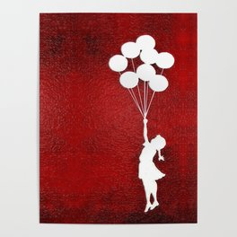Banksy the balloons Girls silhouette Poster
