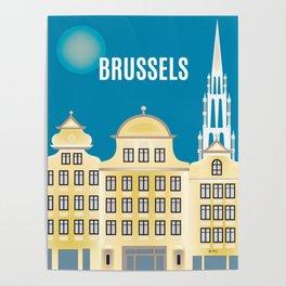 Brussels, Belgium - Skyline Illustration by Loose Petals Poster