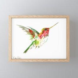 Hummingbird flying bird decor Framed Mini Art Print