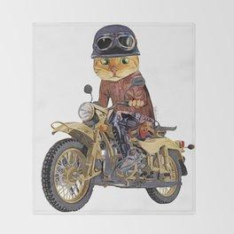 Cat riding motorcycle Throw Blanket