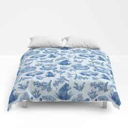 """I'm Still an Animal"" Toile (Blue) Comforters"