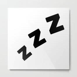 Zzzs in Black Metal Print