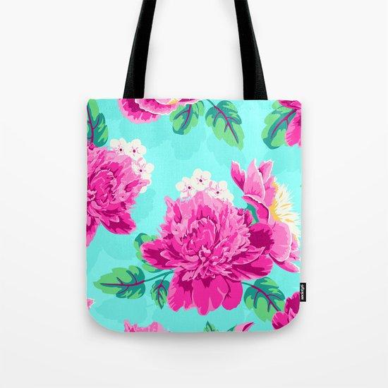Bright Flowers Pretty Peonies Tote Bag