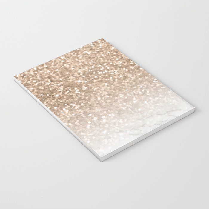 Sparkle - Gold Glitter and Marble Notebook