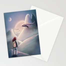 Girl Hiking On The Planet Of The Flying Whales Stationery Cards