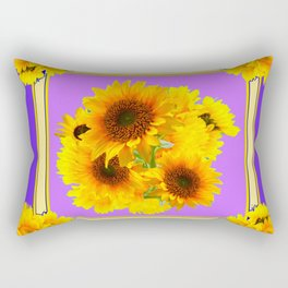 DECORATIVE YELLOW SUNFLOWERS BOUQUET PANTENE PURPLE ART Rectangular Pillow