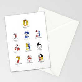 Navy Alphabet Numbers - Leather Stationery Cards