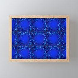 Sea explosive pattern of rhombuses and squares at the depth of the blue ocean. Framed Mini Art Print