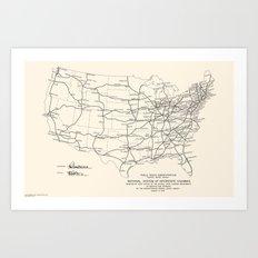 1947 Interstate Highway Map: Digital Recreation Art Print